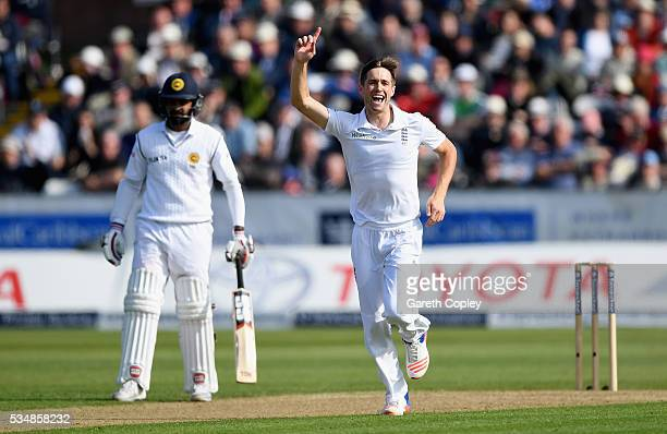 Chris Woakes of England celebrates dismissing Milinda Siriwardana of Sri Lanka during day two of the 2nd Investec Test match between England and Sri...
