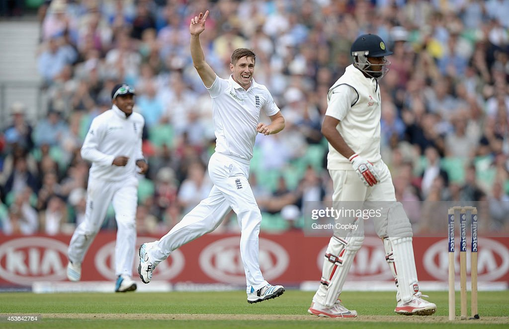 <a gi-track='captionPersonalityLinkClicked' href=/galleries/search?phrase=Chris+Woakes&family=editorial&specificpeople=4444585 ng-click='$event.stopPropagation()'>Chris Woakes</a> of England celebrates dismissing R Ashwin of India during day one of 5th Investec Test match between England and India at The Kia Oval on August 15, 2014 in London, England.