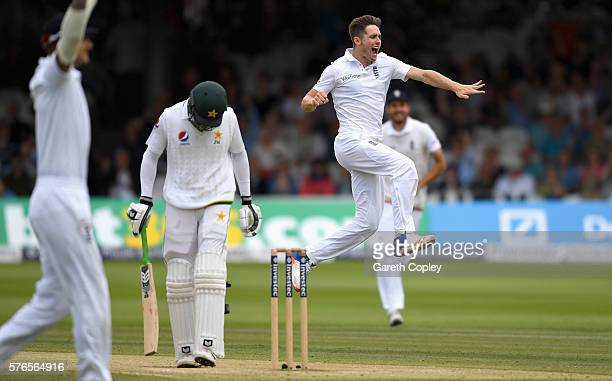 Chris Woakes of England celebrates dismissing Shan Masood of Pakistan during day three of the 1st Investec Test between England and Pakistan at...