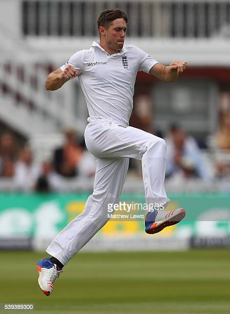 Chris Woakes of England celebrates the wicket of Angelo Mathews of Sri Lanka after he was caught by Joe Root during day three of the 3rd Investec...