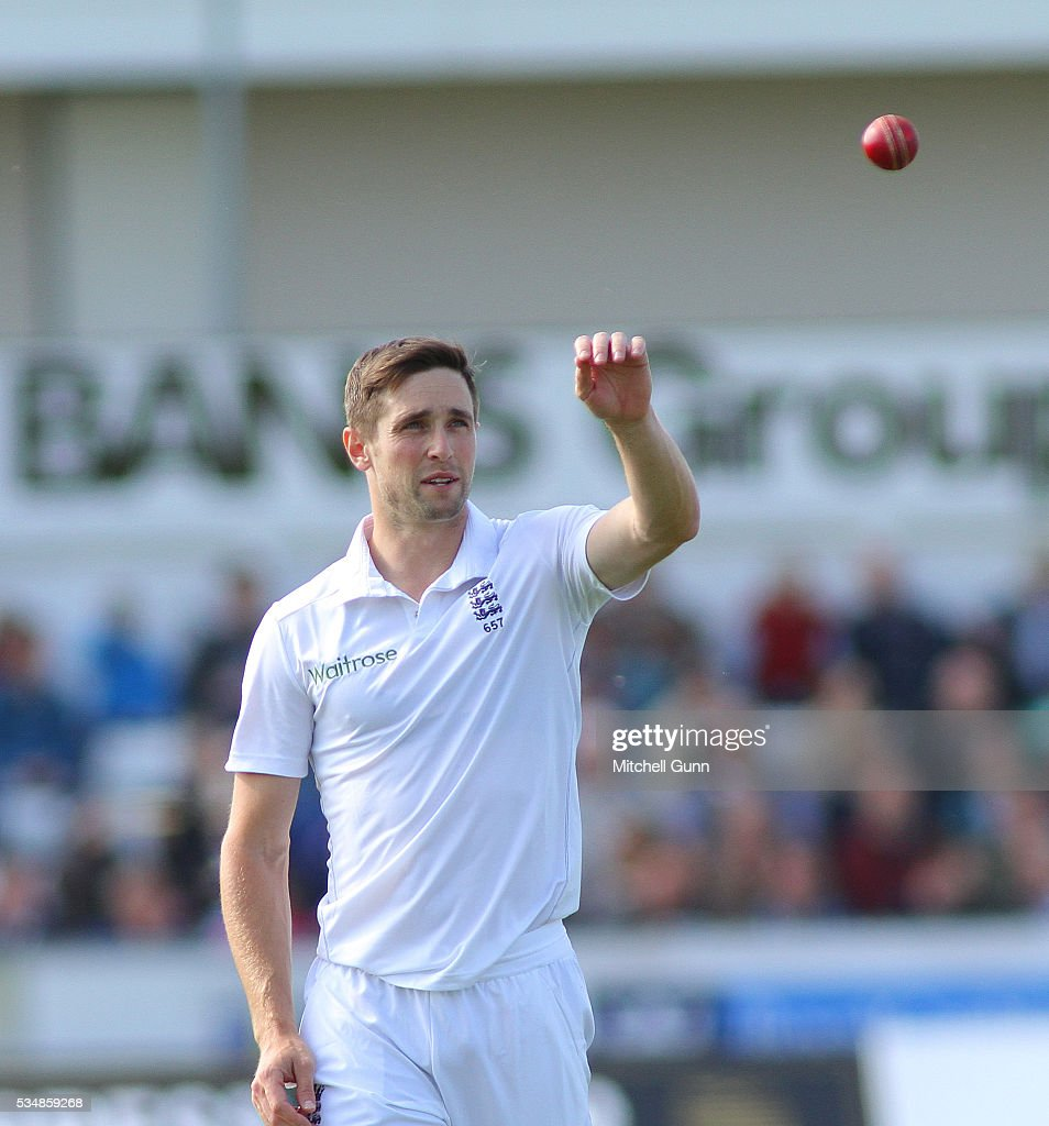 <a gi-track='captionPersonalityLinkClicked' href=/galleries/search?phrase=Chris+Woakes&family=editorial&specificpeople=4444585 ng-click='$event.stopPropagation()'>Chris Woakes</a> of England during day two of the 2nd Investec Test match between England and Sri Lanka at Emirates Durham ICG on May 28, 2016 in Chester-le-Street, United Kingdom.