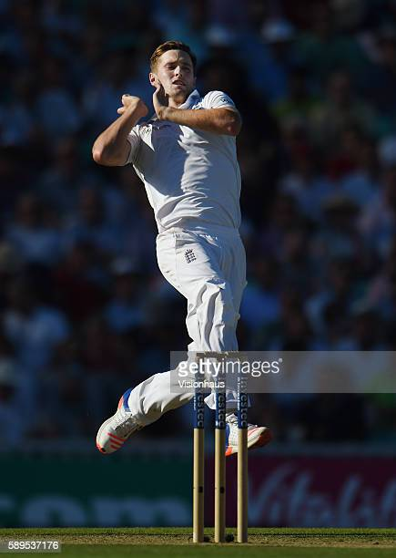 Chris Woakes of England during day two of the fourth Investec test match between England and Pakistan at The Kia Oval on August 12 2016 in London...