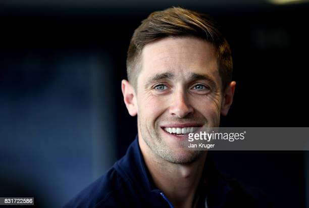 Chris Woakes of England is interviewed during a press conference at Edgbaston on August 15 2017 in Birmingham England