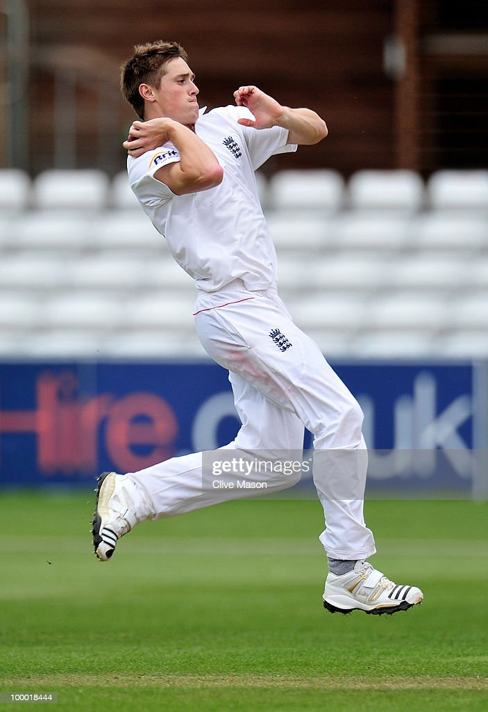 Chris Woakes of England Lions in action bowling during day two of the match between England Lions and Bangladesh at The County Ground on May 20, 2010 in Derby, England.