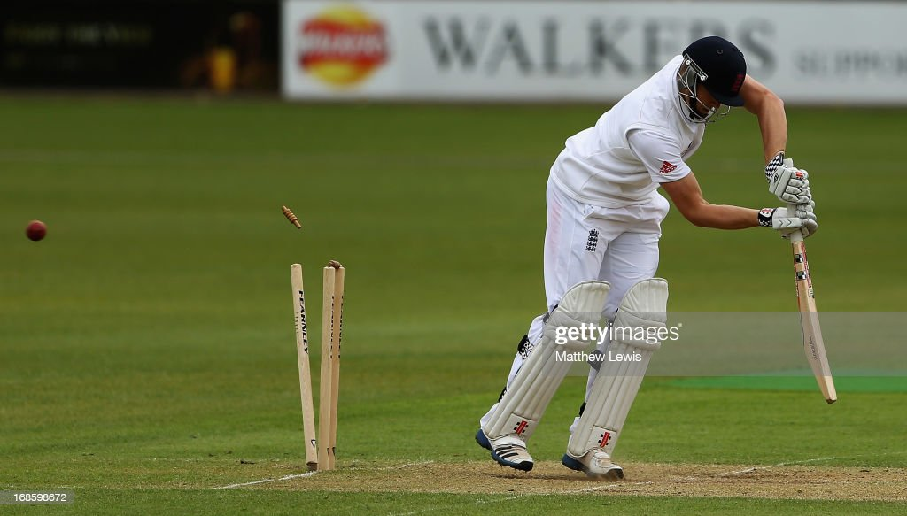 Chris Woakes of England Lions is bowled by Doug Bracewell of New Zealand during day four of the tour match between England Lions and New Zealand at Grace Road on May 12, 2013 in Leicester, England.