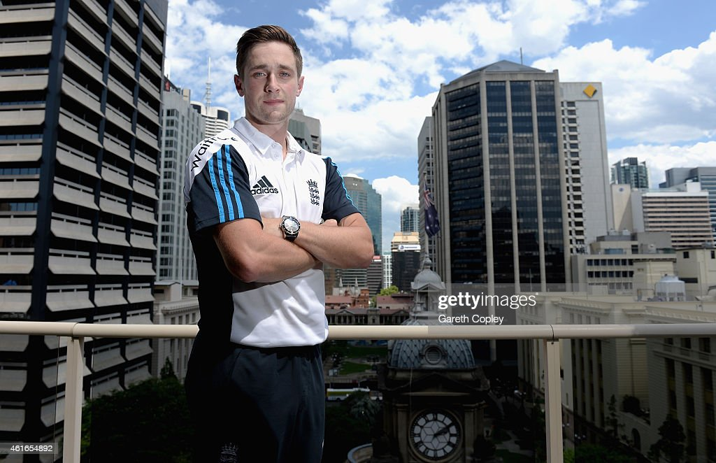 <a gi-track='captionPersonalityLinkClicked' href=/galleries/search?phrase=Chris+Woakes&family=editorial&specificpeople=4444585 ng-click='$event.stopPropagation()'>Chris Woakes</a> of England poses for a portrait after a press conference at the team hotel on January 17, 2015 in Brisbane, Australia.