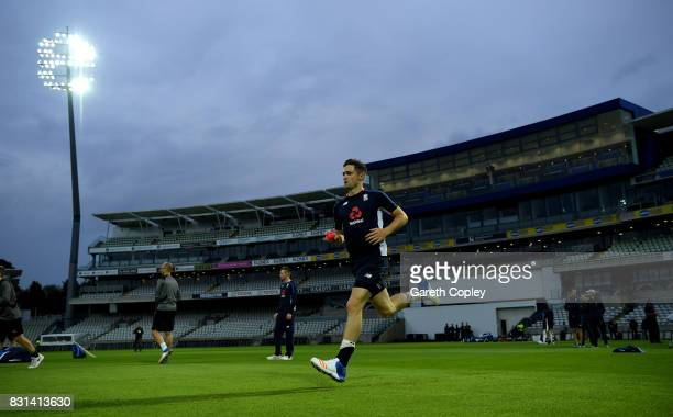 Chris Woakes of England runs into bowl during a nets session at Edgbaston on August 14 2017 in Birmingham England