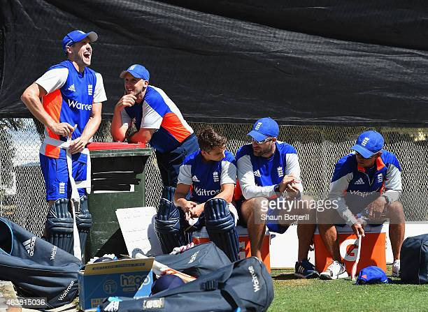 Chris Woakes of England shares ajoke with James Tredwell during an England nets session at Basin Reserve on February 19 2015 in Wellington New Zealand