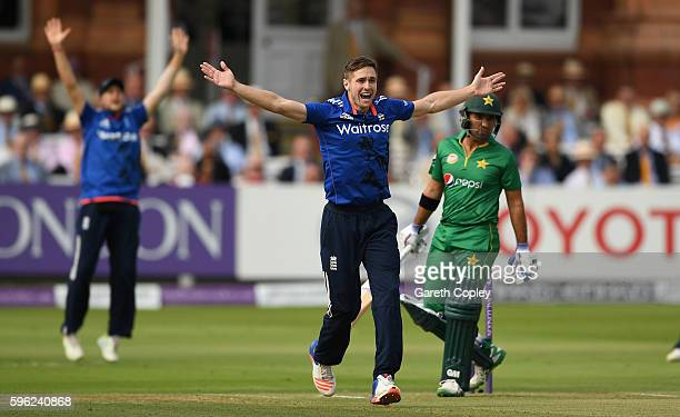 Chris Woakes of England successfully appeals for th wicket of Sami Aslam of Pakistan during the 2nd One Day International match between England and...