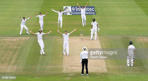 Chris Woakes of England successfully appeals for the wicket Wahab Riaz of Pakistan during day three of the 1st Investec Test between England and...