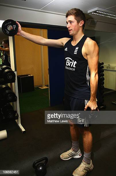 Chris Woakes of England trains in the gym during an ECB England Performance Programme Training Session at the National Cricket Performance Centre on...