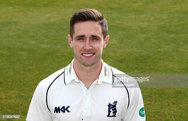Chris Woakes of Warwickshire CCC poses for a portrait during the photocall held at Edgbaston on April 4 2016 in Birmingham England