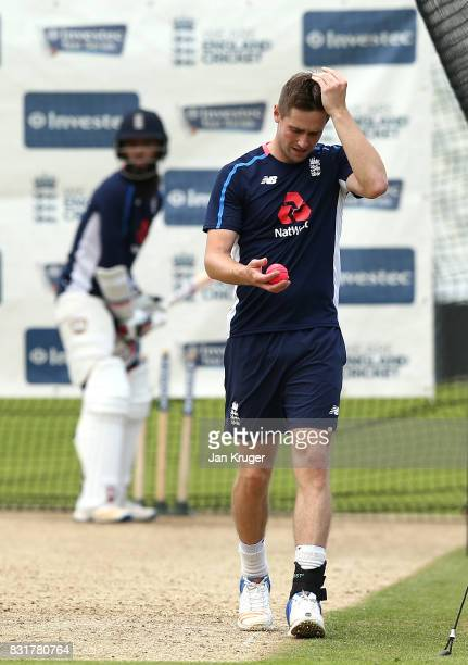 Chris Woakes prepare to bowl during a nets session at Edgbaston on August 15 2017 in Birmingham England