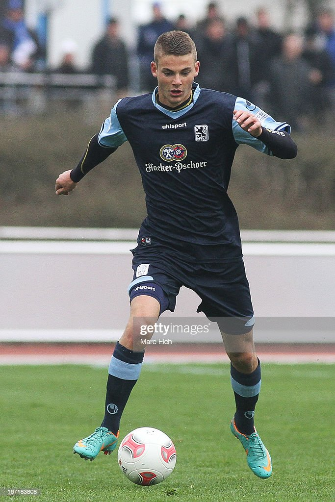 Chris Wolf of Muenchen in action during the Regionalliga Bayern match between FV Illertissen and 1860 Muenchen II at Voehlinstadion on April 20, 2013 in Illertissen, Germany.