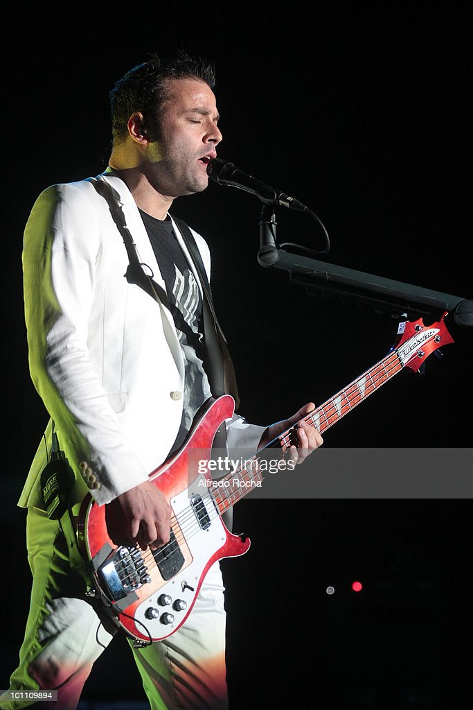 Chris Wolstennholme of Muse performs at Day 3 of Rock In Rio on May 27, 2010 in Lisbon, Portugal.