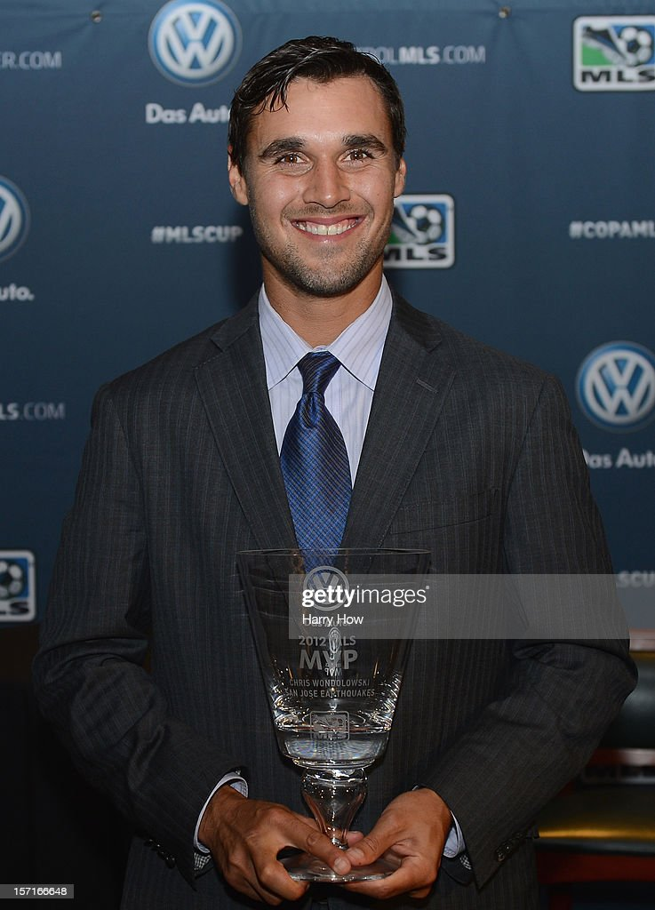 <a gi-track='captionPersonalityLinkClicked' href=/galleries/search?phrase=Chris+Wondolowski&family=editorial&specificpeople=2579265 ng-click='$event.stopPropagation()'>Chris Wondolowski</a> of the San Jose Earthquakes poses with the 2012 MLS Most Valuable Player Award at The Home Depot Center on November 29, 2012 in Carson, California.