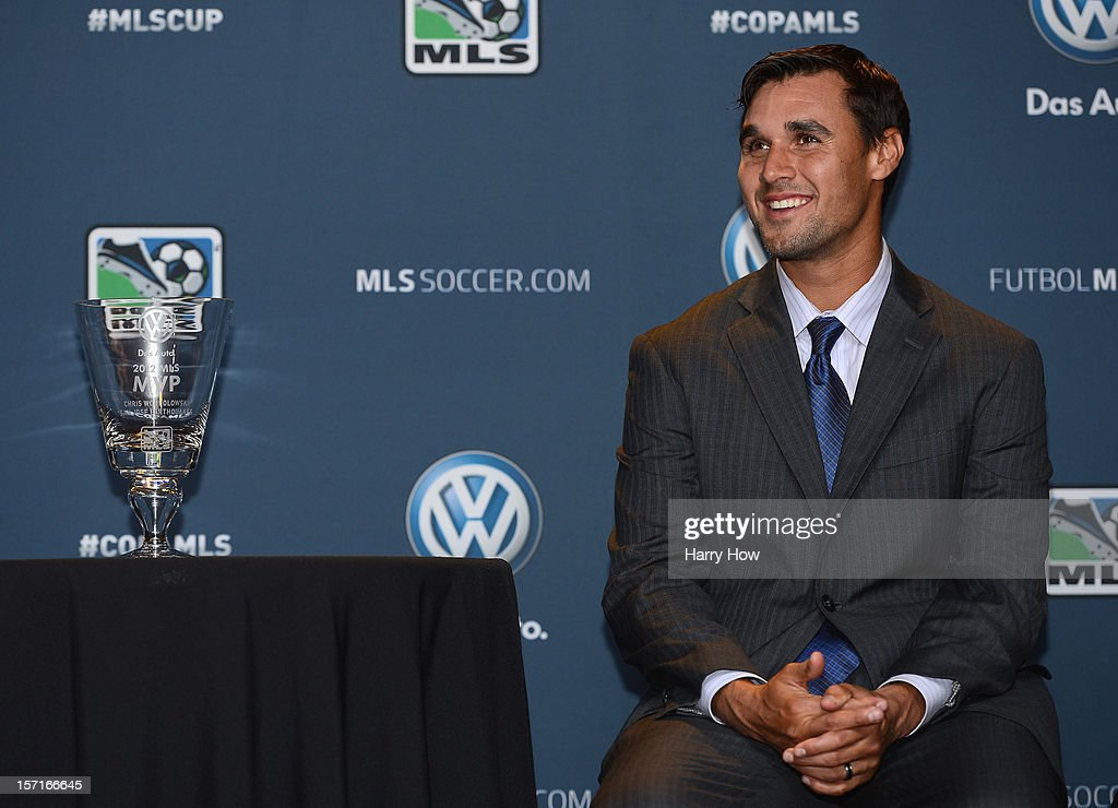 Chris Wondolowski of the San Jose Earthquakes smiles as he waits to be presented with the 2012 MLS Most Valuable Player Award at The Home Depot Center on November 29, 2012 in Carson, California.