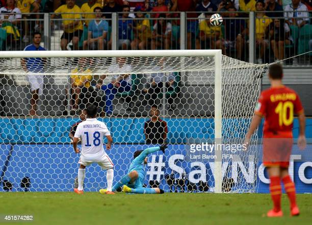 Chris Wondolowski of the United States reacts after missing a chance during the 2014 FIFA World Cup Brazil Round of 16 match between Belgium and USA...
