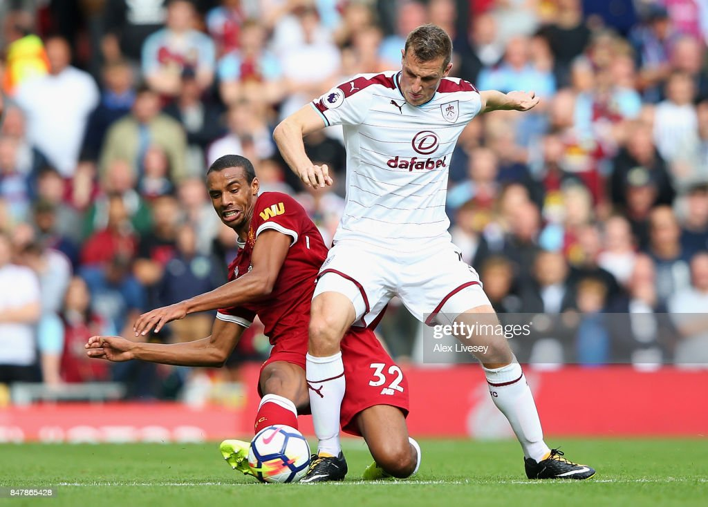 Chris Wood of Burnley and Joel Matip of Liverpool battle for possession during the Premier League match between Liverpool and Burnley at Anfield on September 16, 2017 in Liverpool, England.
