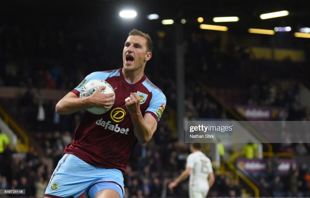 Chris Wood of Burnley celebrates after scoring a penalty during the Carabao Cup Third Round match between Burnley and Leeds United at Turf Moor on September 19, 2017 in Burnley, England.