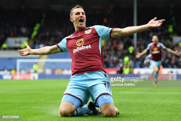 Chris Wood of Burnley celebrates after scoring his sides first goal during the Premier League match between Burnley and Crystal Palace at Turf Moor...