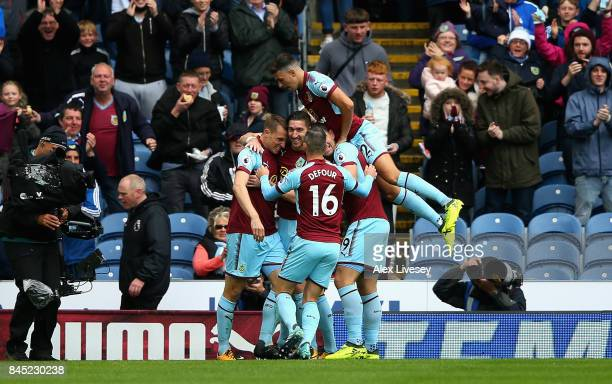 Chris Wood of Burnley celebrates with team mates after scoring his sides first goal during the Premier League match between Burnley and Crystal...