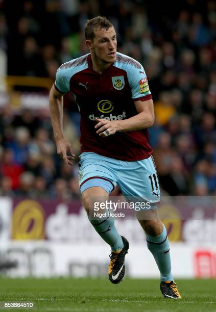 Chris Wood of Burnley during the Premier League match between Burnley and Huddersfield Town at Turf Moor on September 23 2017 in Burnley England