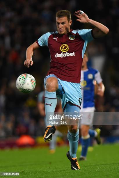Chris Wood of Burnley in action during the Carabao Cup Second Round match between Blackburn Rovers and Burnley at Ewood Park on August 23 2017 in...