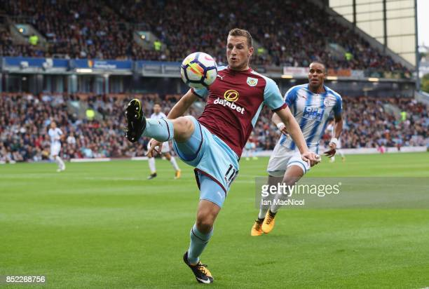 Chris Wood of Burnley in action during the Premier League match between Burnley and Huddersfield Town at Turf Moor on September 23 2017 in Burnley...