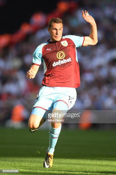 Chris Wood of Burnley in action during the Premier League match between Tottenham Hotspur and Burnley at Wembley Stadium on August 27 2017 in London...