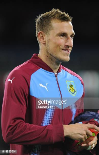 Chris Wood of Burnley looks on during the Carabao Cup Third Round match between Burnley and Leeds United at Turf Moor on September 19 2017 in Burnley...