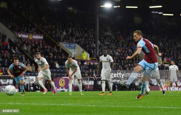 Chris Wood of Burnley scores a penalty during the Carabao Cup Third Round match between Burnley and Leeds United at Turf Moor on September 19 2017 in...