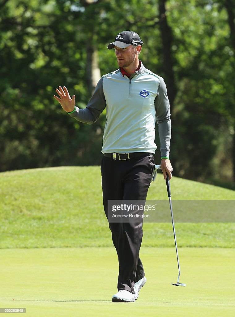 <a gi-track='captionPersonalityLinkClicked' href=/galleries/search?phrase=Chris+Wood+-+Golfer&family=editorial&specificpeople=4601133 ng-click='$event.stopPropagation()'>Chris Wood</a> of England celebrates a birdie on the 9th hole during day four of the BMW PGA Championship at Wentworth on May 29, 2016 in Virginia Water, England.