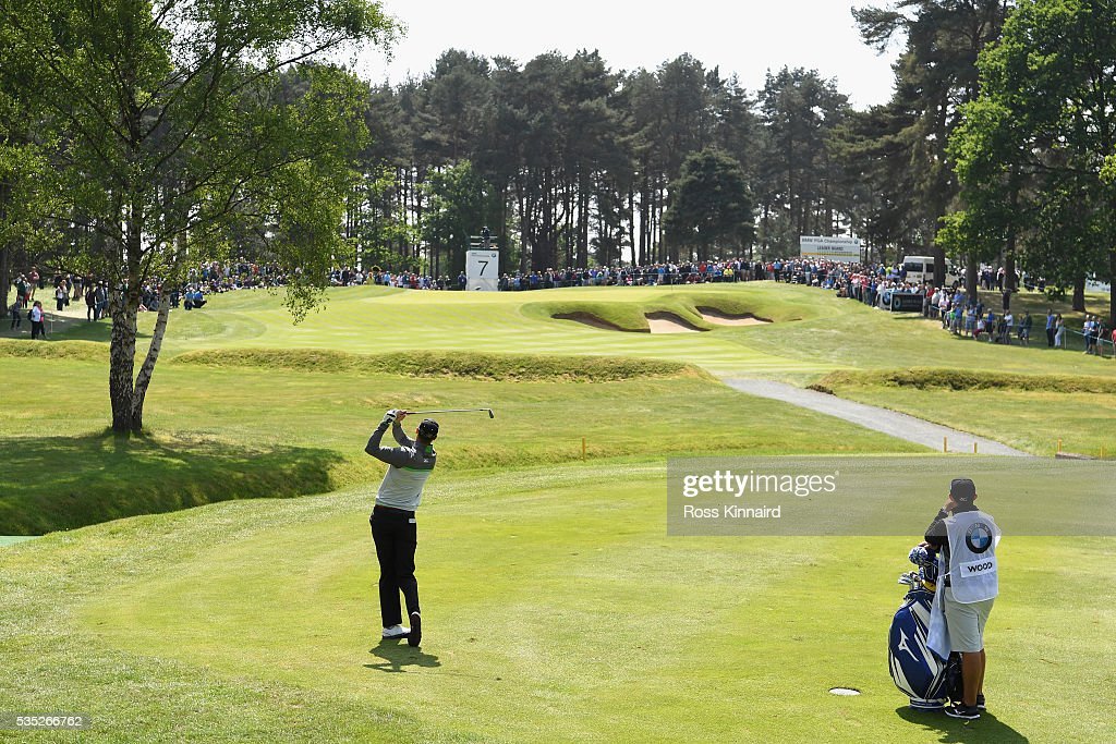 <a gi-track='captionPersonalityLinkClicked' href=/galleries/search?phrase=Chris+Wood+-+Golfer&family=editorial&specificpeople=4601133 ng-click='$event.stopPropagation()'>Chris Wood</a> of England hits his 2nd shot on the 7th hole during day four of the BMW PGA Championship at Wentworth on May 29, 2016 in Virginia Water, England.