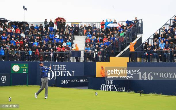 Chris Wood of England hits his tee shot on the 1st hole during the first round of the 146th Open Championship at Royal Birkdale on July 20 2017 in...