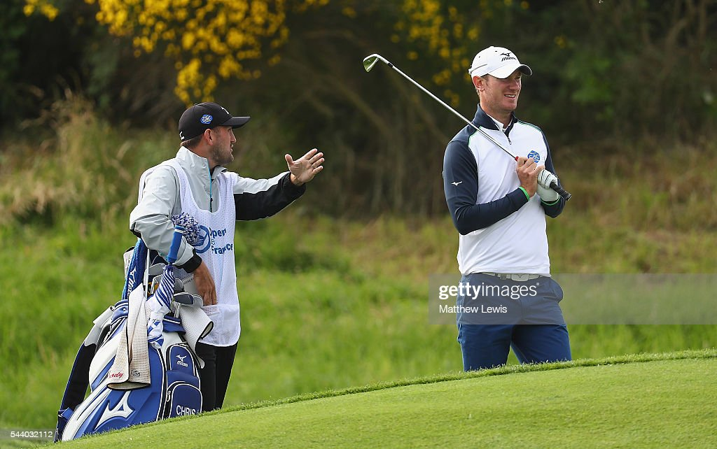 <a gi-track='captionPersonalityLinkClicked' href=/galleries/search?phrase=Chris+Wood+-+Golfer&family=editorial&specificpeople=4601133 ng-click='$event.stopPropagation()'>Chris Wood</a> of England looks on with his caddie Mark Crane during day two of the 100th Open de France at Le Golf National on July 1, 2016 in Paris, France.