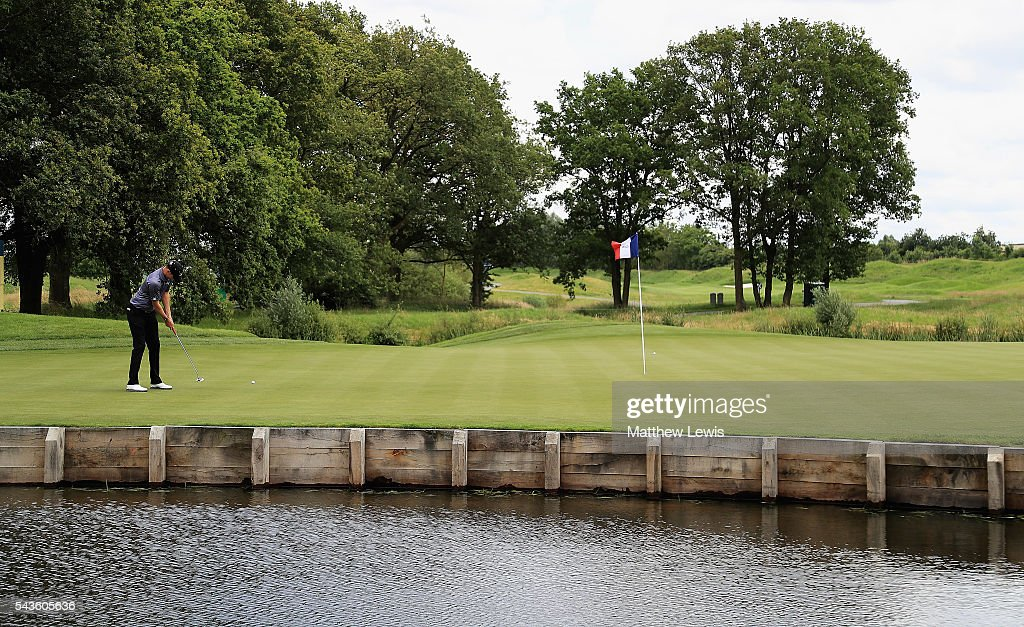 <a gi-track='captionPersonalityLinkClicked' href=/galleries/search?phrase=Chris+Wood+-+Golfer&family=editorial&specificpeople=4601133 ng-click='$event.stopPropagation()'>Chris Wood</a> of England makes a putt during a pro-am round ahead of the 100th Open de France at Le Golf National on June 29, 2016 in Paris, France.
