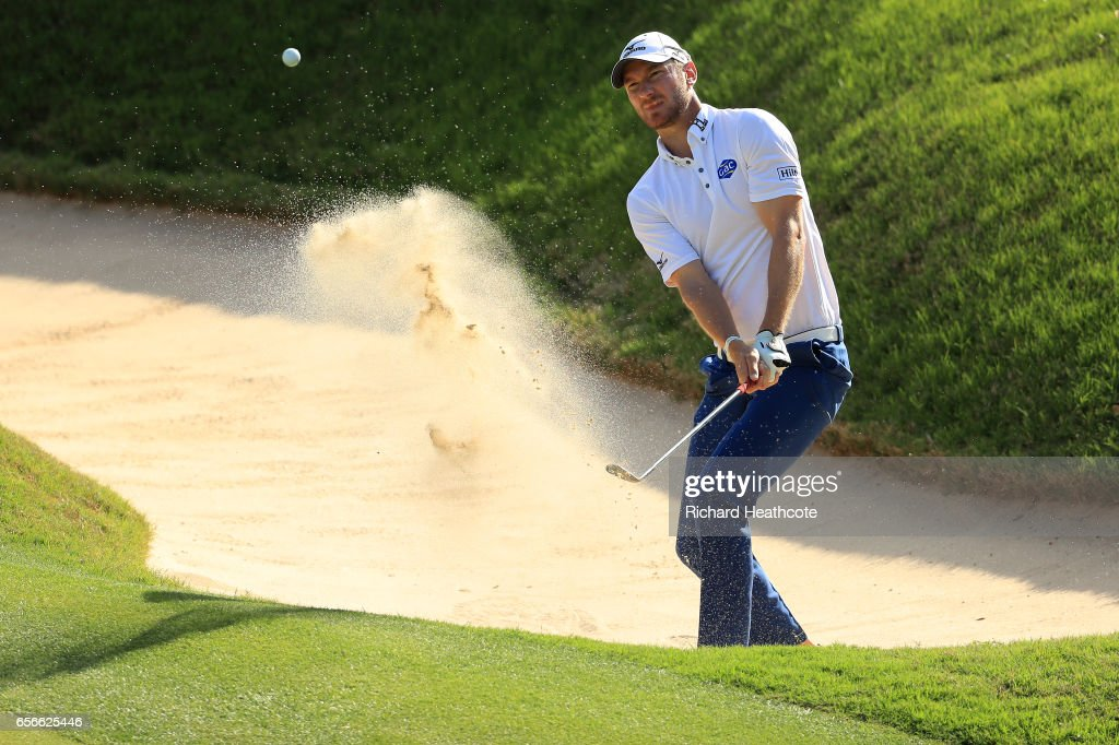 Chris Wood of England plays a shot out of a bunker on the 17th hole of his match during round one of the World Golf Championships-Dell Technologies Match Play at the Austin Country Club on March 22, 2017 in Austin, Texas.
