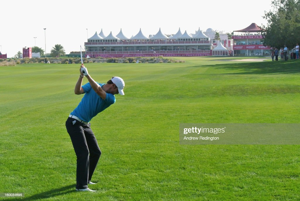 Chris Wood of England plays his second shot on the 18th hole during the third round of the Commercial Bank Qatar Masters held at Doha Golf Club on January 25, 2013 in Doha, Qatar.