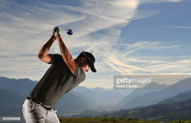 Chris Wood of England poses for a picture during practice prior to the start of the Omega European Masters at CranssurSierre Golf Club on September 5...