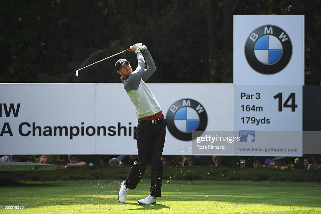 <a gi-track='captionPersonalityLinkClicked' href=/galleries/search?phrase=Chris+Wood+-+Golf&family=editorial&specificpeople=4601133 ng-click='$event.stopPropagation()'>Chris Wood</a> of England tees off on the 14th hole during day four of the BMW PGA Championship at Wentworth on May 29, 2016 in Virginia Water, England.