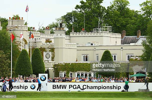 Chris Wood of England tees off on the 1st hole during day 4 of the BMW PGA Championship at Wentworth on May 24 2015 in Virginia Water England