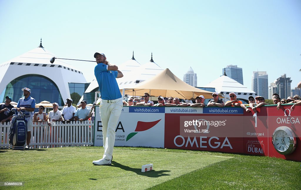 <a gi-track='captionPersonalityLinkClicked' href=/galleries/search?phrase=Chris+Wood+-+Golf&family=editorial&specificpeople=4601133 ng-click='$event.stopPropagation()'>Chris Wood</a> of England tees off on the 1st hole during the final round of the Omega Dubai Desert Classic at the Emirates Golf Club on February 7, 2016 in Dubai, United Arab Emirates.