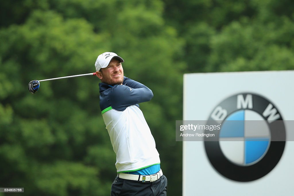 <a gi-track='captionPersonalityLinkClicked' href=/galleries/search?phrase=Chris+Wood+-+Golf&family=editorial&specificpeople=4601133 ng-click='$event.stopPropagation()'>Chris Wood</a> of England tees off on the 3rd hole during day three of the BMW PGA Championship at Wentworth on May 28, 2016 in Virginia Water, England.