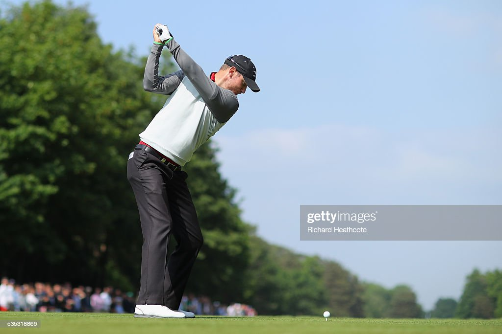 Chris Wood of England tees off onthe 15th hole during day four of the BMW PGA Championship at Wentworth on May 29, 2016 in Virginia Water, England.