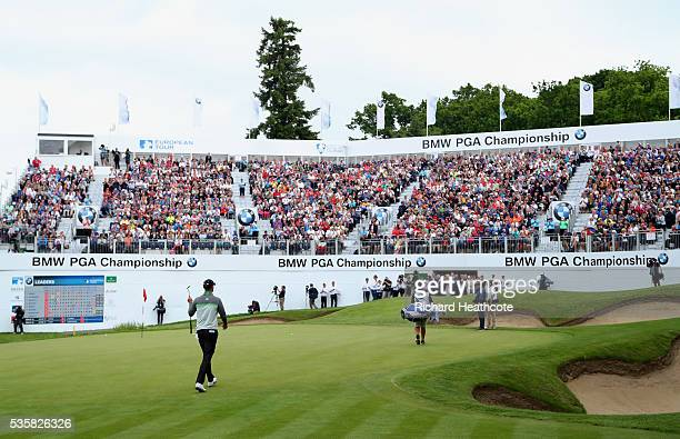 Chris Wood of England walks on to the 18th green during day four of the BMW PGA Championship at Wentworth on May 29 2016 in Virginia Water England