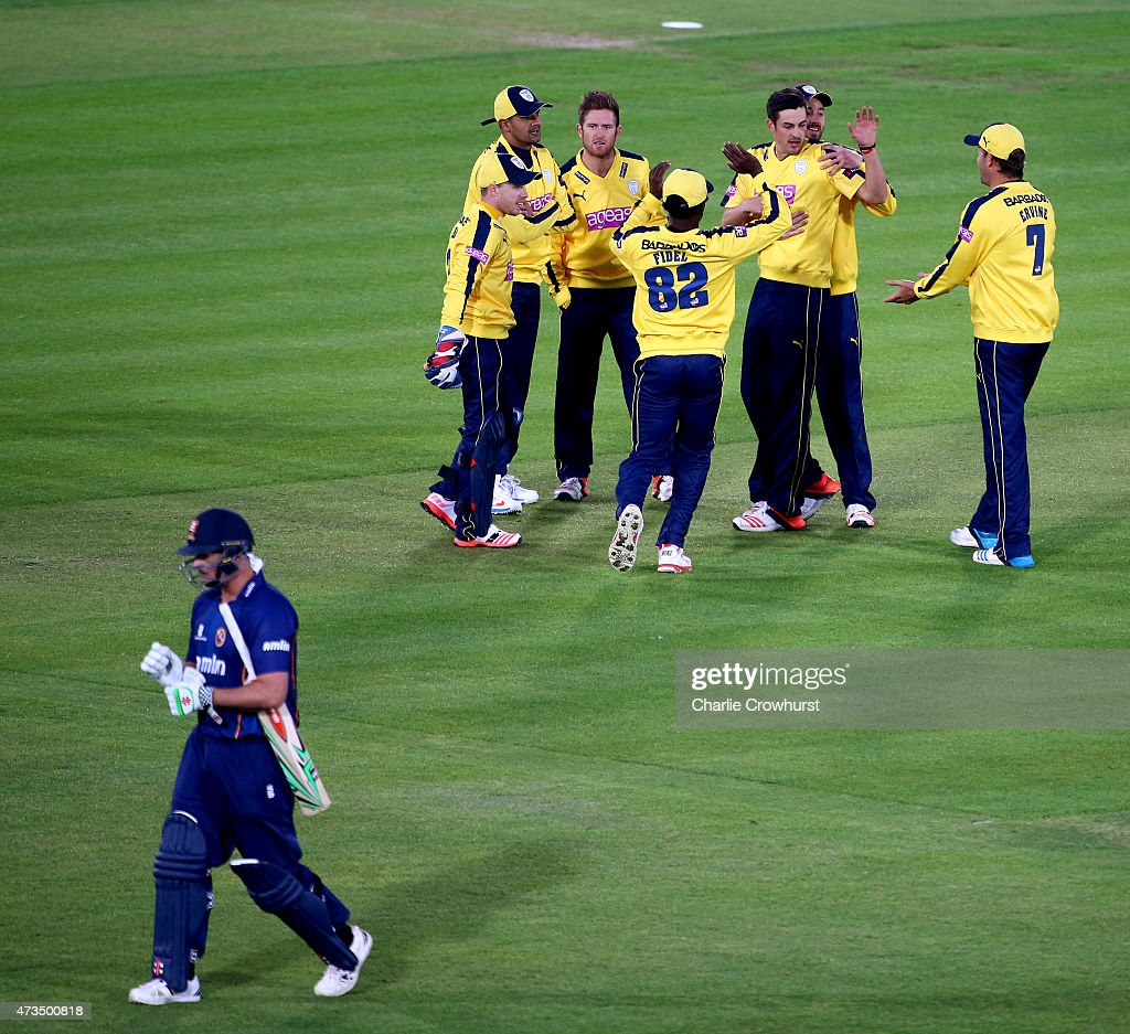 Chris Wood of Hampshire celebrates after bowling out Essex's Jesse Ryder during the Natwest T20 Blast match between Hampshire and Essex at The Rose...