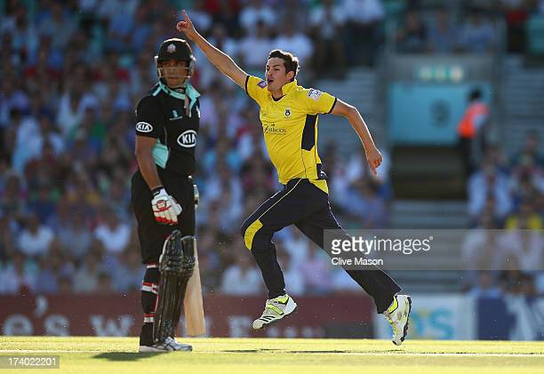 Chris Wood of Hampshire celebrates dismissing Azhar Mahmood of Surrey during the Friends Life T20 match between Surrey Lions and Hampshire Royals at...