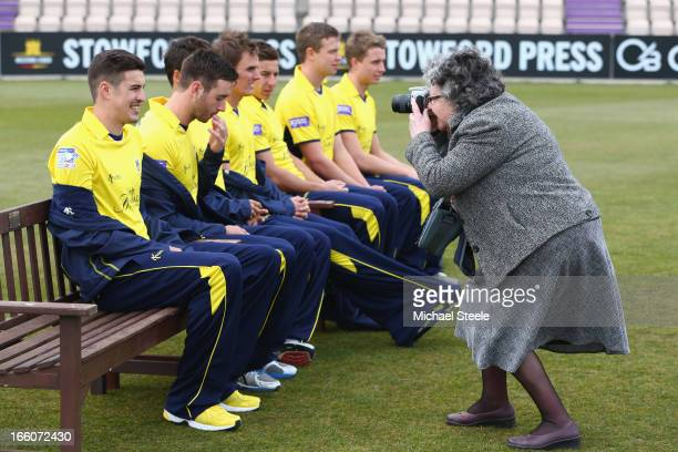 Chris Wood of Hampshire poses for a photographer during the Hampshire CCC photocall at The Ageus Bowl on April 8 2013 in Southampton England