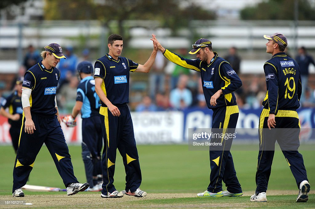 <a gi-track='captionPersonalityLinkClicked' href=/galleries/search?phrase=Chris+Wood+-+Cricket+Player&family=editorial&specificpeople=15004928 ng-click='$event.stopPropagation()'>Chris Wood</a> of Hampshire Royals celebrates taking the wicket of Matt Prior of Sussex Sharks with his team mates during the Clydesdale Bank Pro40 semi final match between Sussex and Hampshire at the Probiz County Ground on September 1, 2012 in Hove, England.